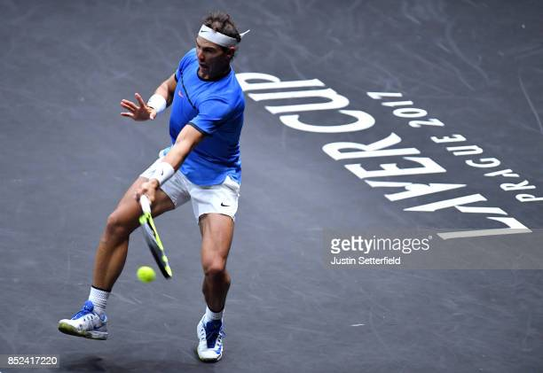 Rafael Nadal of Team Europe plays a forehand during his singles match against Jack Sock of Team World on Day 2 of the Laver Cup on September 23 2017...
