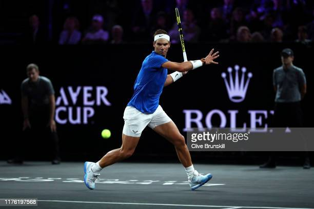 Rafael Nadal of Team Europe plays a forehand in his singles match against Milos Raonic of Team World during Day Two of the Laver Cup 2019 at Palexpo...