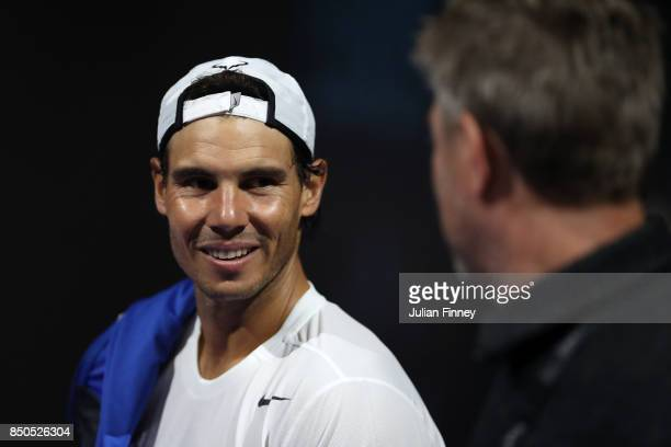 Rafael Nadal of Team Europe reacts during practice ahead of the Laver Cup on September 21 2017 in Prague Czech Republic The Laver Cup consists of six...