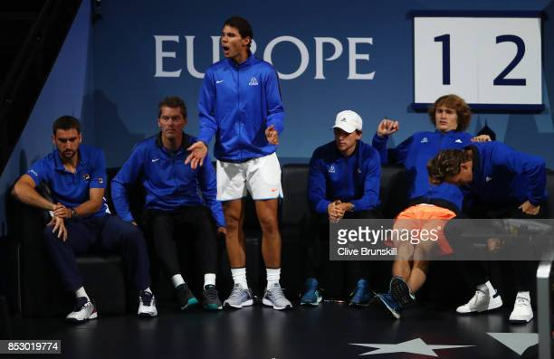 Rafael Nadal of Team Europe reacts on the Team Europe bench as he watches Roger Federer of Team Europe during his mens singles match against Nick...