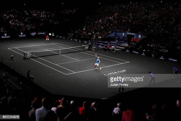 Rafael Nadal of Team Europe serves during his singles match against Jack Sock of Team World on Day 2 of the Laver Cup on September 23 2017 in Prague...