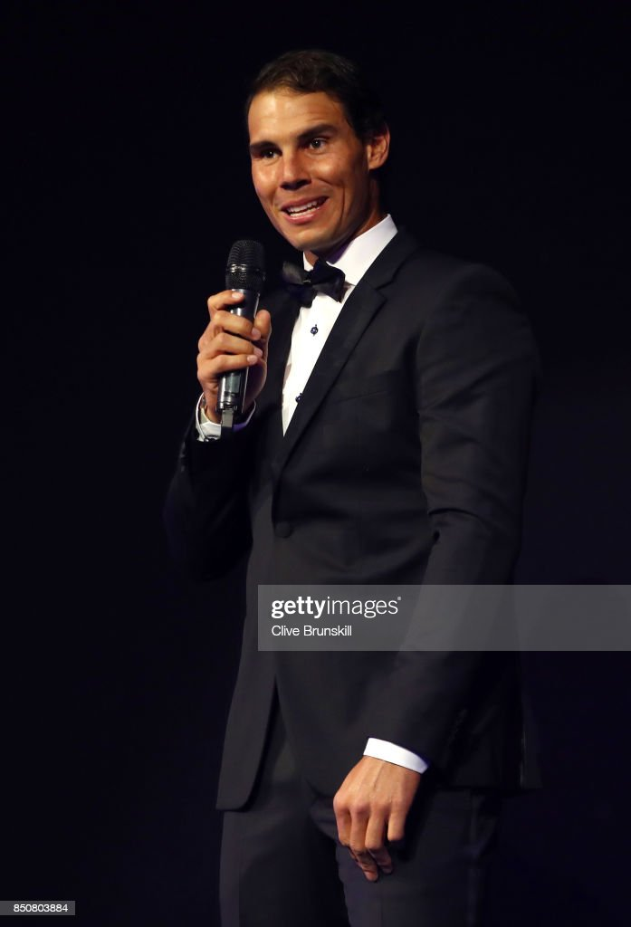 Rafael Nadal of Team Europe speaks on stage at the Laver Cup Gala dinner ahead of the Laver Cup on September 21, 2017 in Prague, Czech Republic. The Laver Cup consists of six European players competing against their counterparts from the rest of the World. Europe will be captained by Bjorn Borg and John McEnroe will captain the Rest of the World team. The event runs from 22-24 September.