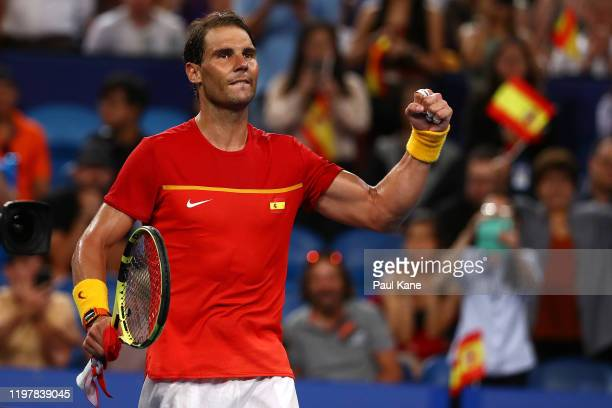 Rafael Nadal of Team Spain celebrates inning his match against Pablo Cuevas of Team Uruguay during day four of the 2020 ATP Cup Group Stage at RAC...