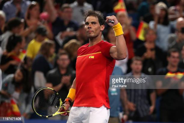 Rafael Nadal of Team Spain celebrates winning his singles game against Nikoloz Basilashvili of Team Georgia during day two of the 2020 ATP Cup Group...
