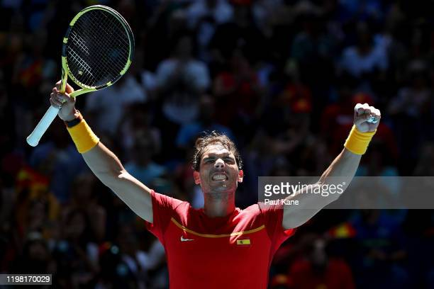 Rafael Nadal of Team Spain celebrates winning his singles match against Yoshihito Nishioka of Team Japan during day six of the 2020 ATP Cup Group...
