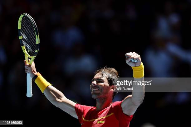 Rafael Nadal of Team Spain celebrates winning the set against Yoshihito Nishioka of Team Japan during day six of the 2020 ATP Cup Group Stage at RAC...