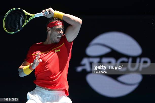 Rafael Nadal of Team Spain plays a backhand to Yoshihito Nishioka of Team Japan during day six of the 2020 ATP Cup Group Stage at RAC Arena on...