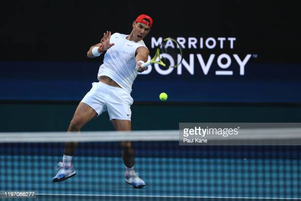 Rafael Nadal of Team Spain plays a forehand during a practice session against Karen Khachanov of Team Russia ahead of the 2020 ATP Cup Group Stage at...