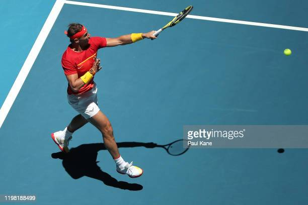 Rafael Nadal of Team Spain plays a forehand to Yoshihito Nishioka of Team Japan during day six of the 2020 ATP Cup Group Stage at RAC Arena on...