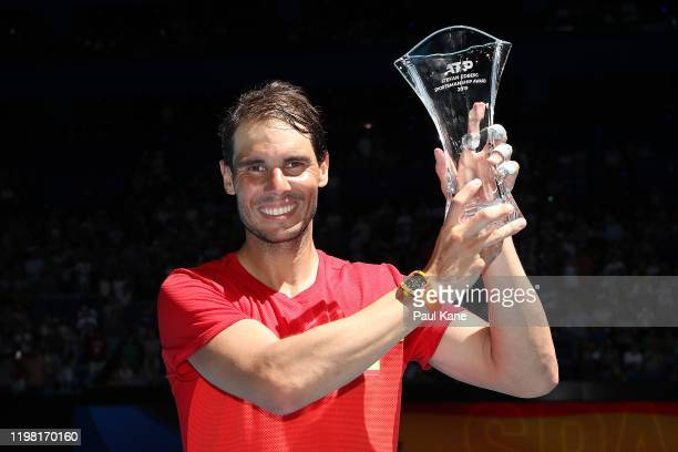 Rafael Nadal of Team Spain poses with the 2019 Stefan Edberg Sportsmanship award during day six of the 2020 ATP Cup Group Stage at RAC Arena on...