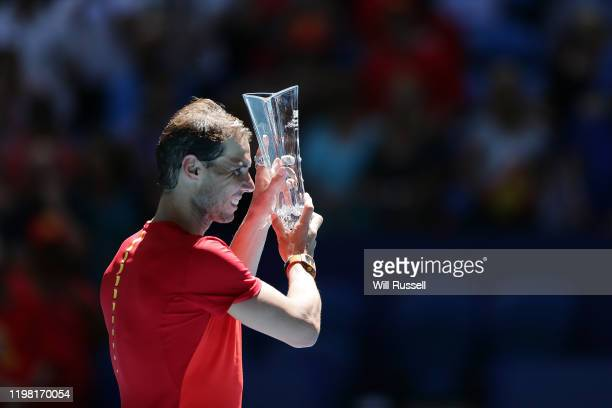 Rafael Nadal of Team Spain poses with the ATP Stefan Edberg Sportmanship award during day six of the 2020 ATP Cup Group Stage at RAC Arena on January...