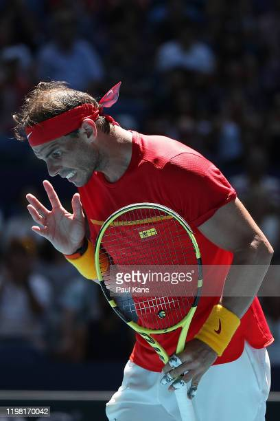 Rafael Nadal of Team Spain reacts after missing a shot against Yoshihito Nishioka of Team Japan during day six of the 2020 ATP Cup Group Stage at RAC...