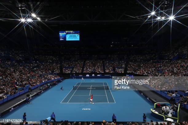 Rafael Nadal of Team Spain serves to Nikoloz Basilashvili of Team Georgia during day two of the 2020 ATP Cup Group Stage at RAC Arena on January 04...