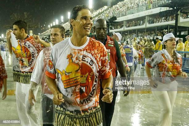 Rafael Nadal participates in the parade on the Sambodromo during Rio Carnival on February 15 2015 in Rio de Janeiro Brazil