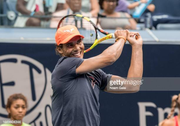 Rafael Nadal plays tennis during the 2018 Arthur Ashe Kids' Day at USTA Billie Jean King National Tennis Center on August 25 2018 in New York City