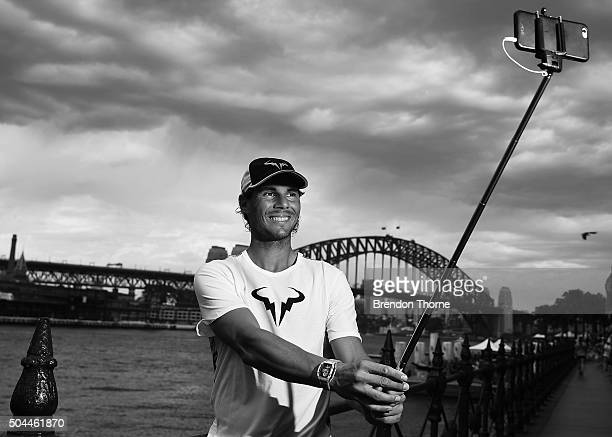 Rafael Nadal poses for a 'Selfie' during the FAST4Tennis media opportunity at Circular Quay on January 11 2016 in Sydney Australia