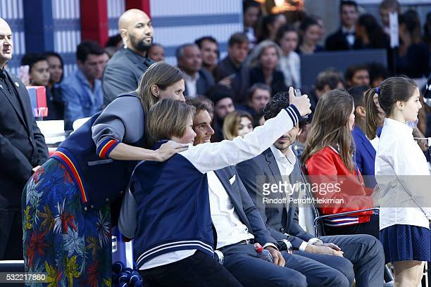 Rafael Nadal poses for a selfie with Malgosia Bela and her son Jozef Bela during Tommy X Nadal party tennis soccer match hosted by Tommy Hilfiger on...