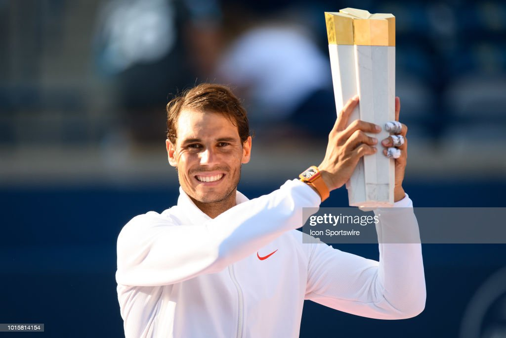 Rafael Nadal (ESP) poses with the championship trophy after winning the Rogers Cup tennis tournament Final on August 12, 2018, at Aviva Centre in Toronto, ON, Canada.