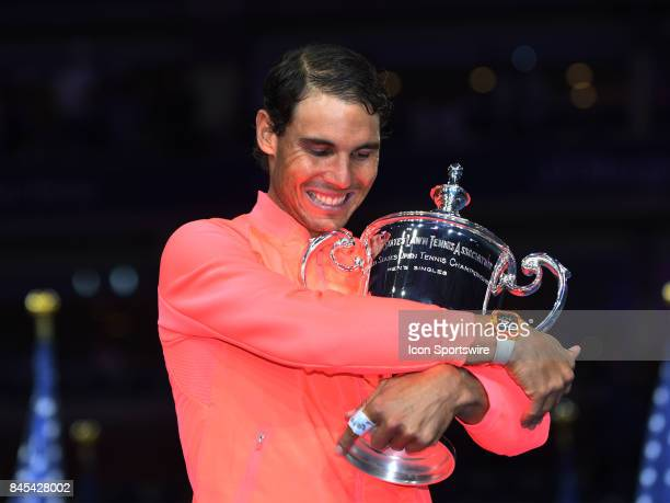 Rafael Nadal posing with the trophy after winning the men's singles final at the US Open on September 10 2017 at the Billie Jean King National Tennis...