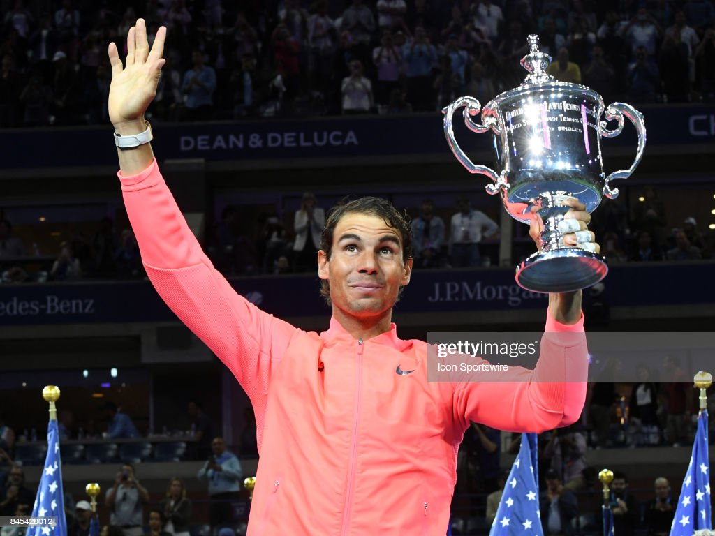 Rafael Nadal (ESP) posing with the trophy after winning the men's singles final at the US Open on September 10, 2017 at the Billie Jean King National Tennis Center in Flushing Meadow, NY.