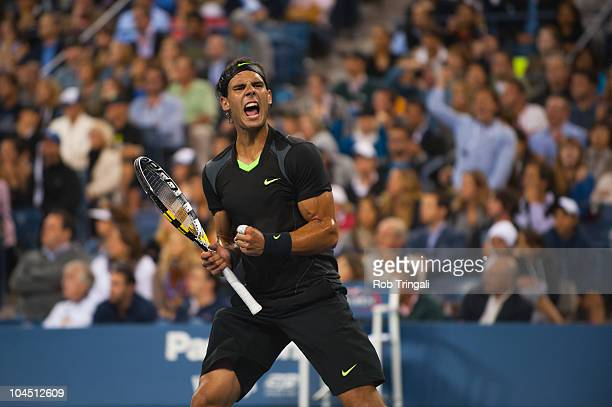 Rafael Nadal reacts after winning the third set against Novak Djokovic in the men's final on day fifteen of the 2010 US Open at the USTA Billie Jean...