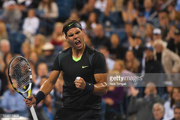 Rafael Nadal reacts after winning the third set against Novak Djokovic in the men's final on day fifteen of the 2010 U.S. Open at the USTA Billie...