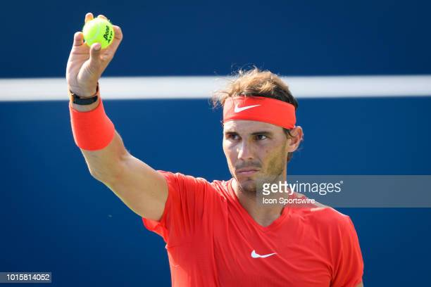 Rafael Nadal reacts during the Rogers Cup tennis tournament Final on August 12 at Aviva Centre in Toronto ON Canada