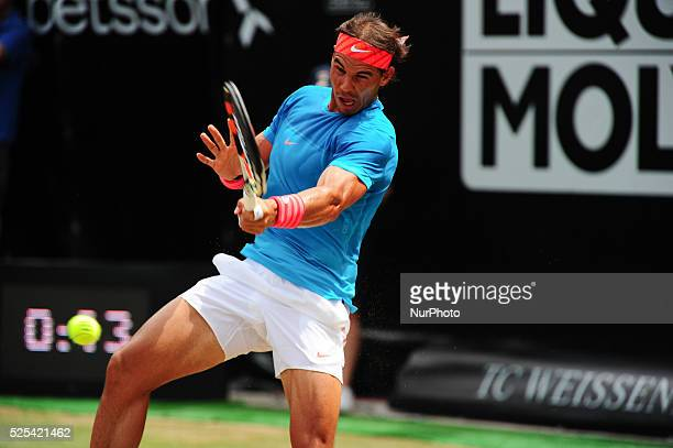 Rafael Nadal returns the ball with a forehand during a match against Gael Monfils in the Mercedes Cup semifinals in Stuttgart on June 13 2015
