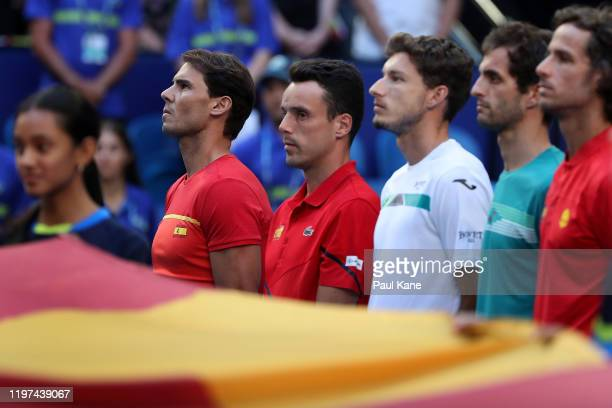 Rafael Nadal Roberto Bautista Agut Pablo Carreno Busta Albert RamosVinolas and Feliciano Lopez of Team Spain look on as the Spanish anthem played...