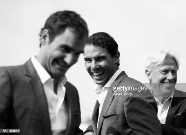 Rafael Nadal Roger Federer and Bjorn Borg of Team Europe enjoy a joke during previews on September 20 2017 in Prague Czech Republic