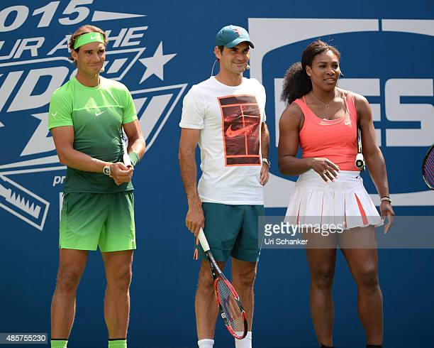 Rafael Nadal Roger Federer and Serena Williams attend Arthur Ashe Kids Day 2015 at the US Open at USTA Billie Jean King National Tennis Center on...
