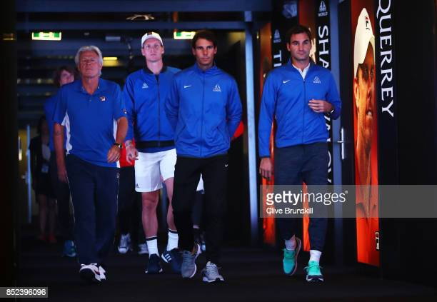 Rafael Nadal Roger Federer Bjorn Borg and Tomas Berdych of Team Europe enter the arena on Day 2 of the Laver Cup on September 23 2017 in Prague Czech...