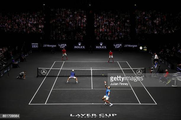 Rafael Nadal serves playing with Tomas Berdych of Team Europe during there doubles match against Nick Kyrgios ans Jack Sock of Team World on the...
