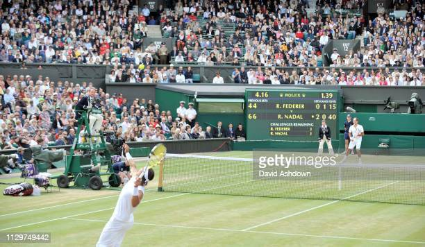 Rafael Nadal serving during the match with Rodger Federer in the Wimbledon Tennis Championships Mens Final 6th July 2008