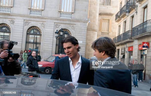 Rafael Nadal sighted after his press presentation of the Barcelona Open Banc Sabadell 59th Annual Trofeo Conde de Godo on February 8 2011 in...