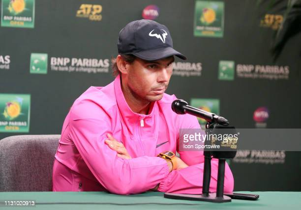 Rafael Nadal speaks to the media after announcing he will not play his semifinal match against Roger Federer due to injury at the BNP Paribas Open on...