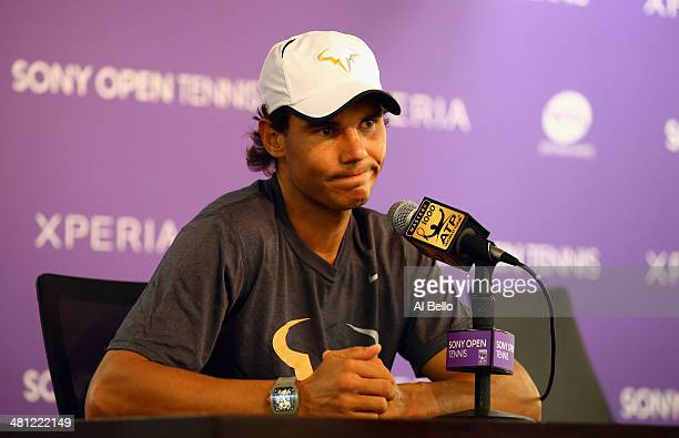 Rafael Nadal speaks to the media regarding his semi final opponent Tomas Berdych withdrawing from the match due to gastroenteritis on day 12 of the...