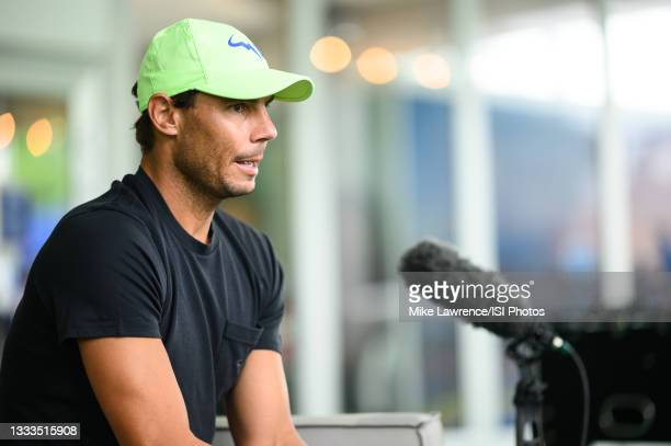 Rafael Nadal speaks with press on Media Day ahead of the 2021 Citi Open at Rock Creek Park Tennis Center on August 1, 2021 in Washington, DC.
