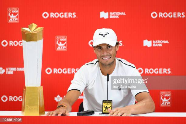 Rafael Nadal talks during a press conference after winning the Rogers Cup tennis tournament Final on August 12 at Aviva Centre in Toronto ON Canada