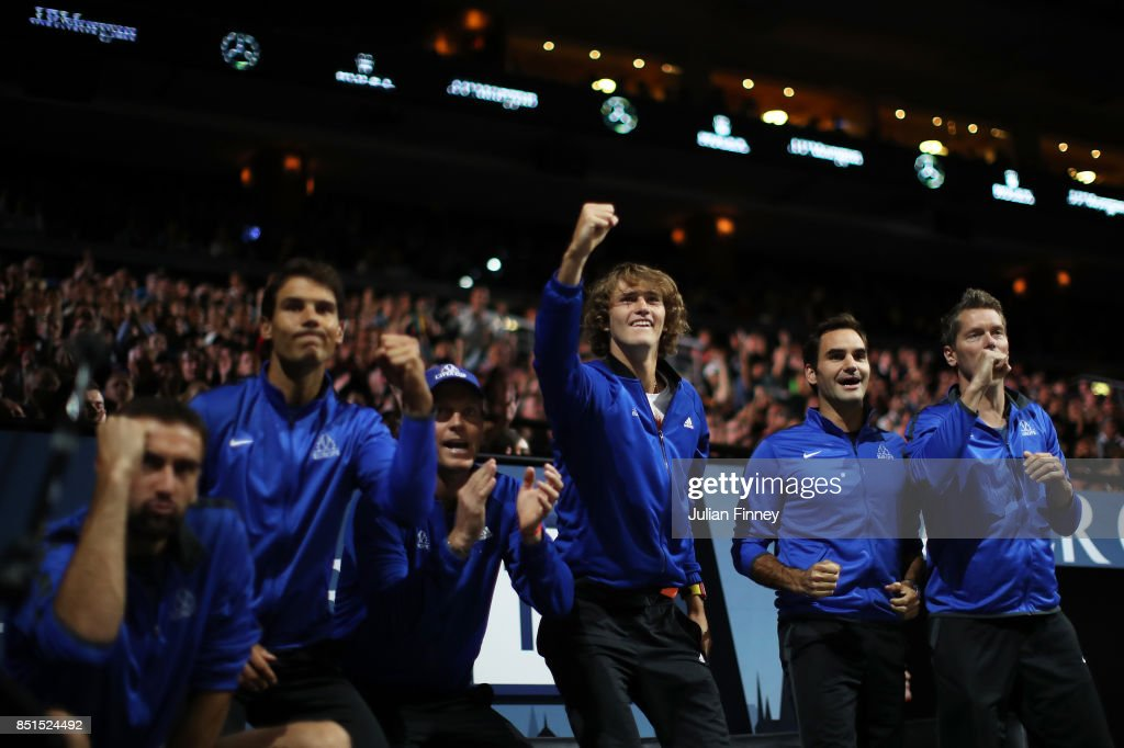 Rafael Nadal, Tomas Berdych, Alexander Zverev and Roger Federer and Thomas Enqvist of Team Europe celebrate as they watch the singles match between Dominic Thiem of Team Europe and John Isner of Team World on the first day of the Laver Cup on September 22, 2017 in Prague, Czech Republic. The Laver Cup consists of six European players competing against their counterparts from the rest of the World. Europe will be captained by Bjorn Borg and John McEnroe will captain the Rest of the World team. The event runs from 22-24 September.