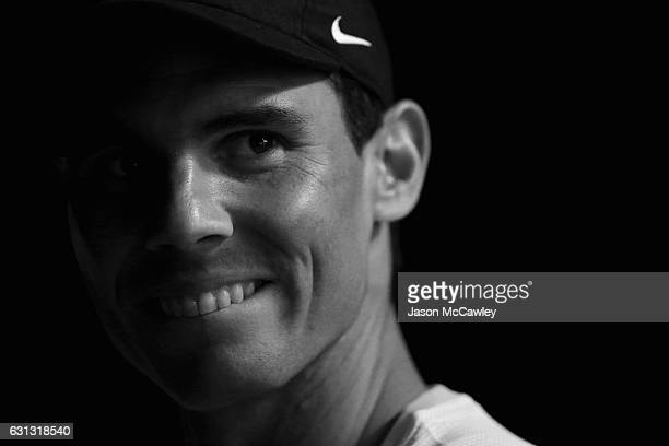 Rafael Nadal watches on during the Fast4 International Exhibition match between Bernard Tomic and Dominic Thiem at the ICC Sydney Theatre on January...