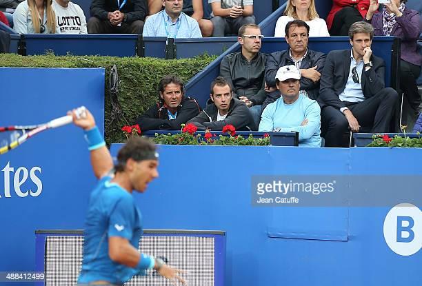 Rafael Nadal's box with assistant coach Francisco Roig his physio Rafael Maymo his coach and uncle Toni Nadal above them Jordi 'Tuts' Robert his...