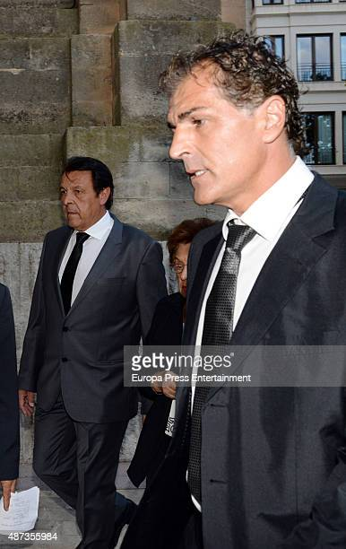 Rafael Nadal's father Sebastian Nadal and uncle Miguel Angel Nadal attend the funeral chapel for musician Rafael Nadal grandfather of tennis player...