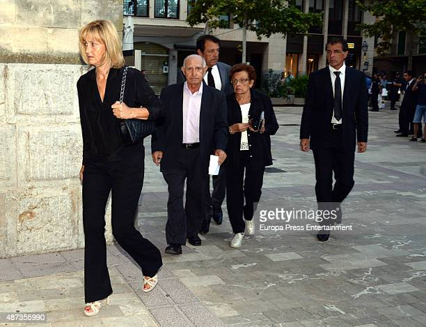 Rafael Nadal's father Sebastian Nadal mother Ana Maria Parera and uncle Miguel Angel Nadal attend the funeral chapel for musician Rafael Nadal...