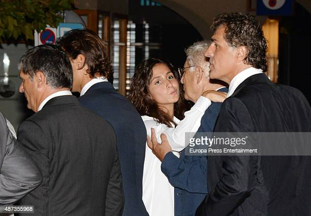 Rafael Nadal's father Sebastian Nadal Rafael Nadal girlfriend Xisca Perello and uncle Miguel Angel Nadal attend the funeral chapel for musician...