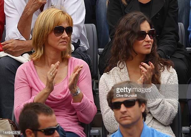 Rafael Nadal's girlfriend Maria Francisca Perello and mother Ana María Parera look on during the final between Novak Djokovic of Serbia and Rafael...
