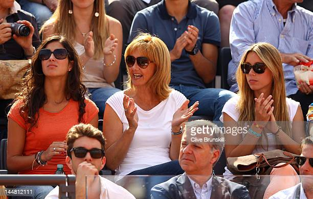 Rafael Nadal's girlfriend Maria Francisca Perello his sister Isabel Nadal and mother Ana María Parera watch Rafael Nadal of Spain against David...