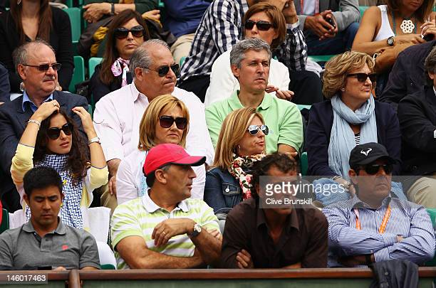 Rafael Nadal's girlfriend Xisca Perello and mother Ana Maria Parera watch his men's singles semi final match against David Ferrer of Spain with his...