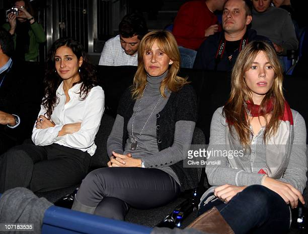 Rafael Nadal's girlfriend Xisca Perello his mother Ana Maria Parera and his sister Maria Isabel watch the men's final between Rafael Nadal of Spain...