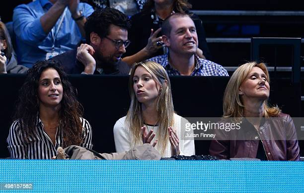 Rafael Nadal's girlfriend Xisca Perello sister Isabel Nadal and mother Ana Maria Parera are seen during the men's singles semi final against Novak...